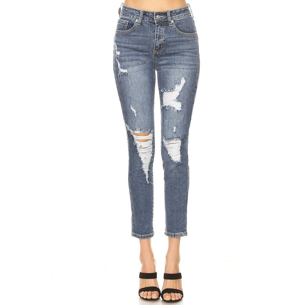 Jayda Distressed Slim Mom Jeans