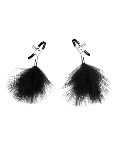 Lux Fetish Feather Nipple Clips - Black