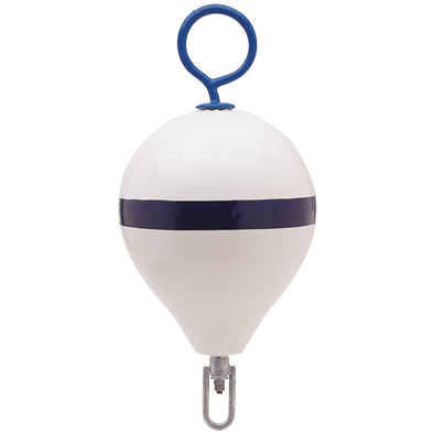"Polyform Mooring Buoy w-Iron 17"" Diameter - White Blue Stripe [CM-3 WH-STR]"
