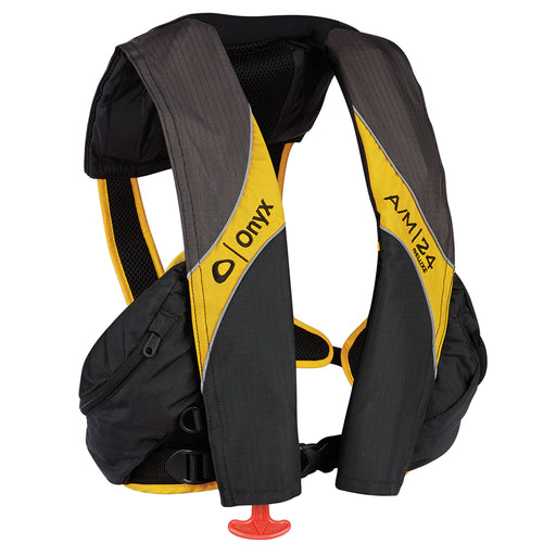 Onyx A-M-24 Deluxe Automatic-Manual Inflatable Life Jacket - Carbon-Yellow [132100-701-004-15]