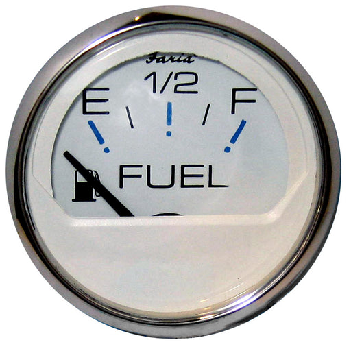 "Faria Chesapeake White SS 2"" Fuel Level Gauge (E-1-2-F) [13801]"