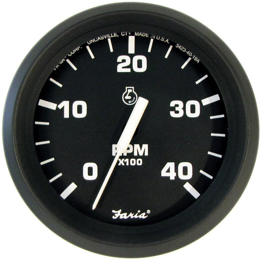 "Faria Euro Black 4"" Tachometer - 4,000 RPM (Diesel - Mechanical Takeoff & Var Ratio Alt) [32842]"