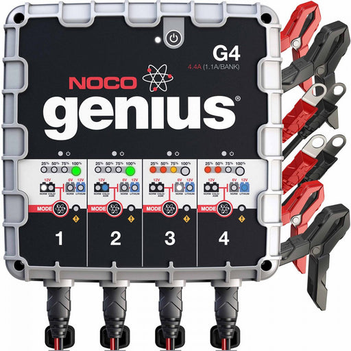 NOCO Genius G4 6V-12V 1100mA Battery Charger - 4-Bank [G4]