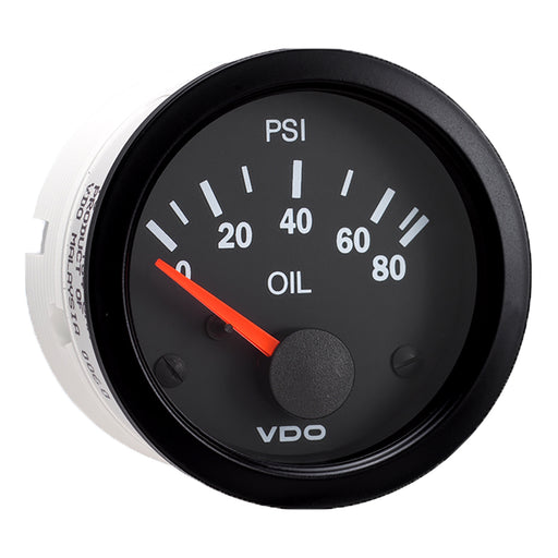 VDO Vision Black 80 PSI Oil Pressure Gauge - Use with VDO Sender - 12V [350-104]