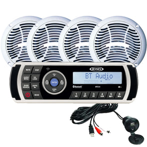 JENSEN CPM200 AM-FM-USB Waterproof Bluetooth Stereo Pack w-4 Speakers, MS2A Radio  Aux Input [CPM200 MS2A]