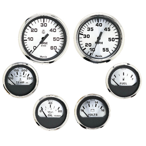 Faria Spun Silver Box Set of 6 Gauges - Speed, Tach, Voltmeter, Fuel Level, Water Temperature  Oil [KTF0184]