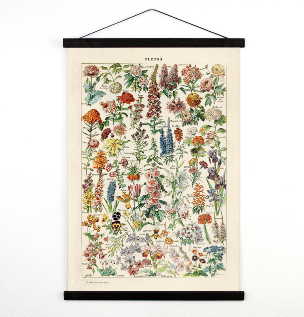 FRENCH BOTANICAL FLOWERS WALL HANGING