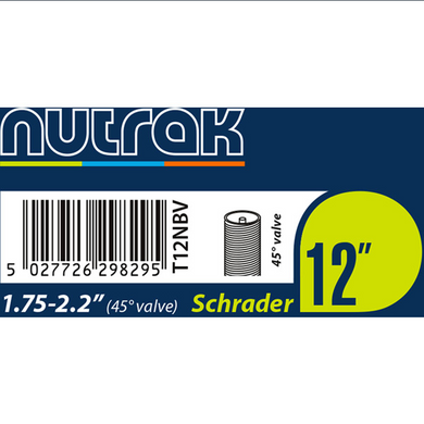 Nutrak  12 x 1.75 - 2.125 inch Schrader inner tube with 45 degree bent valve