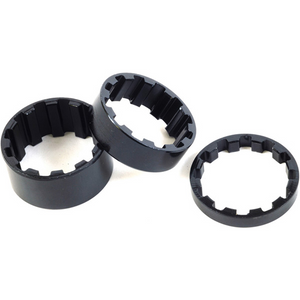 M-Part Splined alloy headset spacers 1 inch, 5 / 10 / 15 mm black, pack of 3