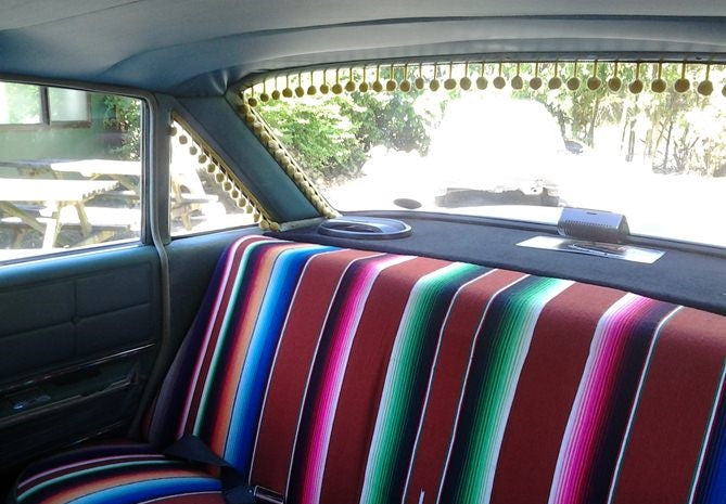 Mexican blankets used as car upholestry