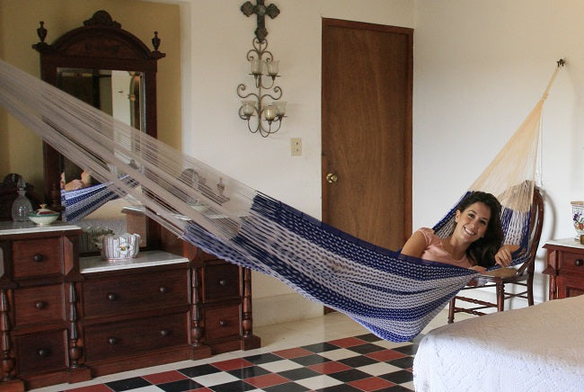 Blue and white cotton Mexican hammock