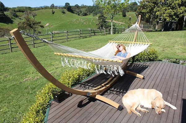 Wood metal hammock stand