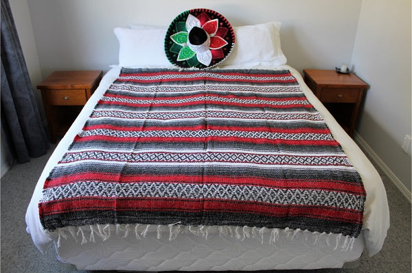 Red and Black Striped Falsa Blanket