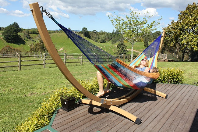Wood Effect Metal Hammock Stand and Rainbow Hammock