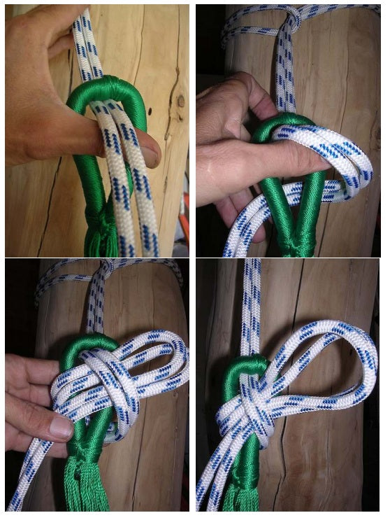 Hammock knot tying instruction photo