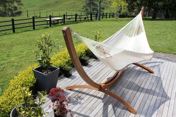 Wooden Arc Hammock Stand and Mexican Hammock