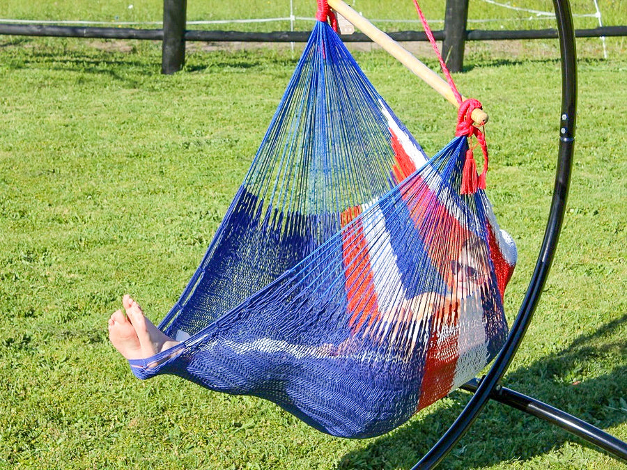 Red, white and blue chair hammock