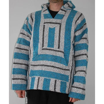 Aqua, white and black Baja Mexican hoodie