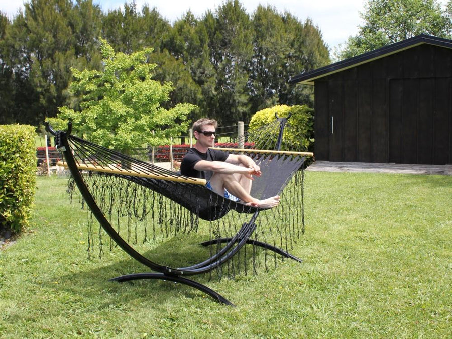 Mexican Spreader Bar Hammock - Black Cotton