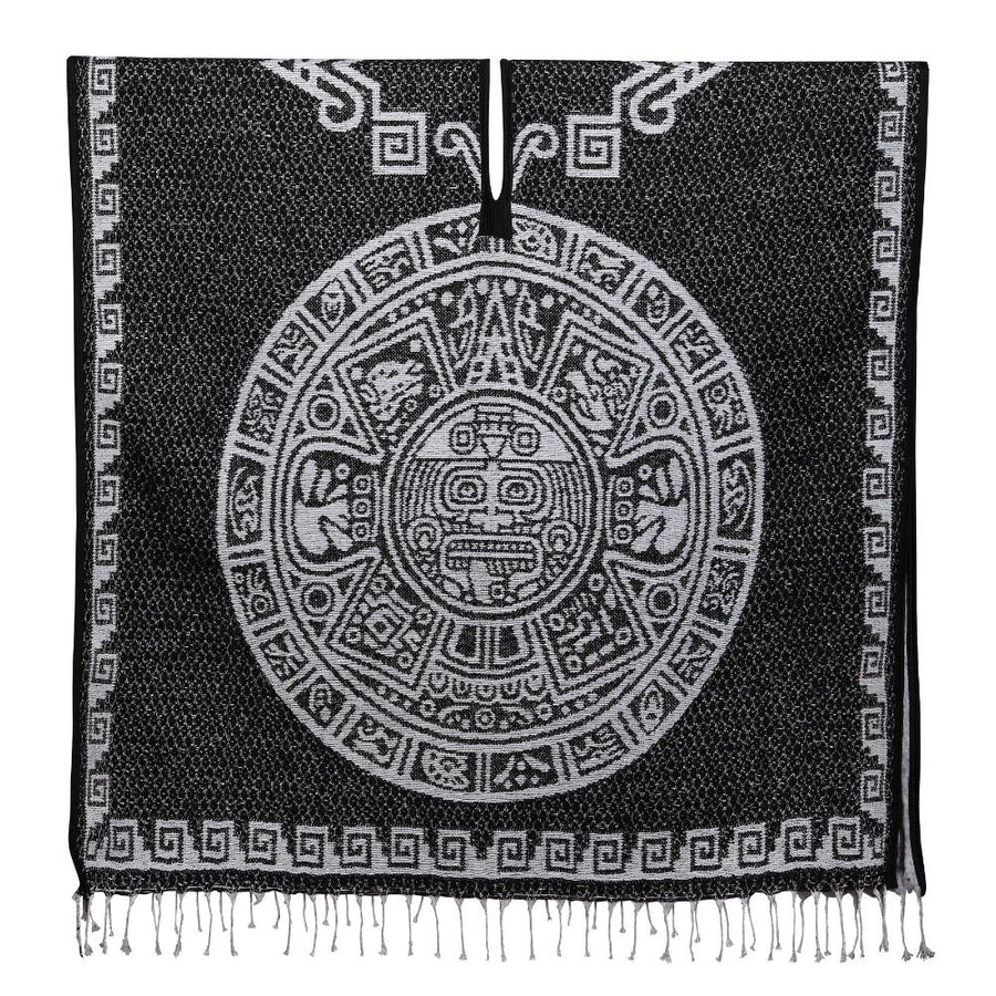 Mexican Aztec Design Poncho - Calendar Pattern