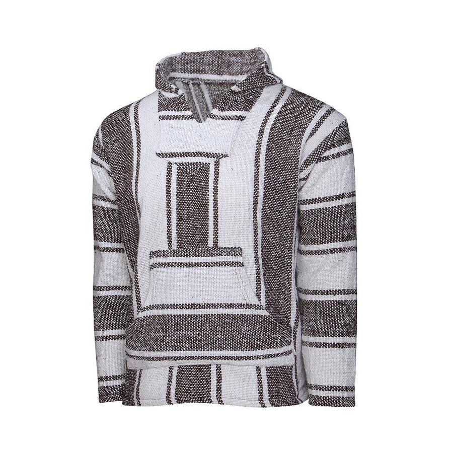 Striped Baja hoodie - Brown and White
