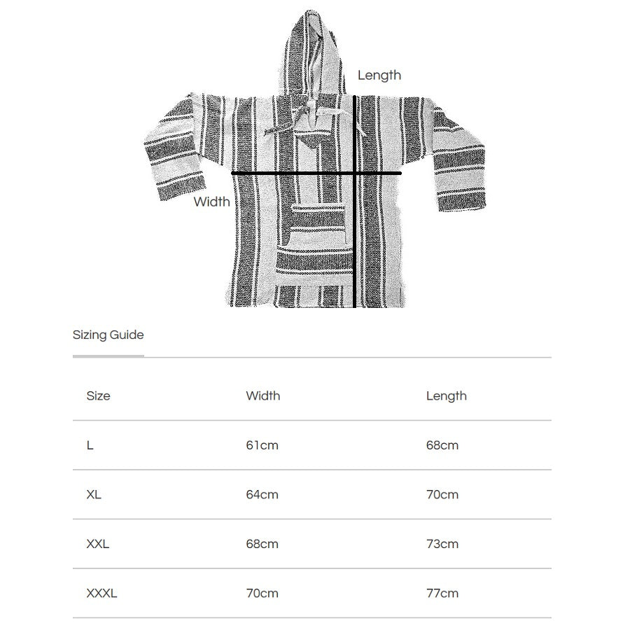 Sizing Guide for Mexican Hammock Store Baja Hoodies