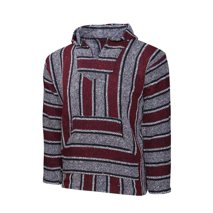 Red Striped Mexican Hoodie - Baja Style