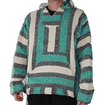 Teal Hoodie - Baja Mexican Striped Poncho