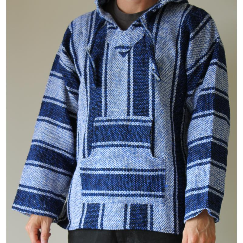 Mexican Baja Hoodie - Blue and White