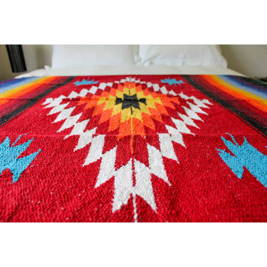 Mexican Saltillo Blanket - Red
