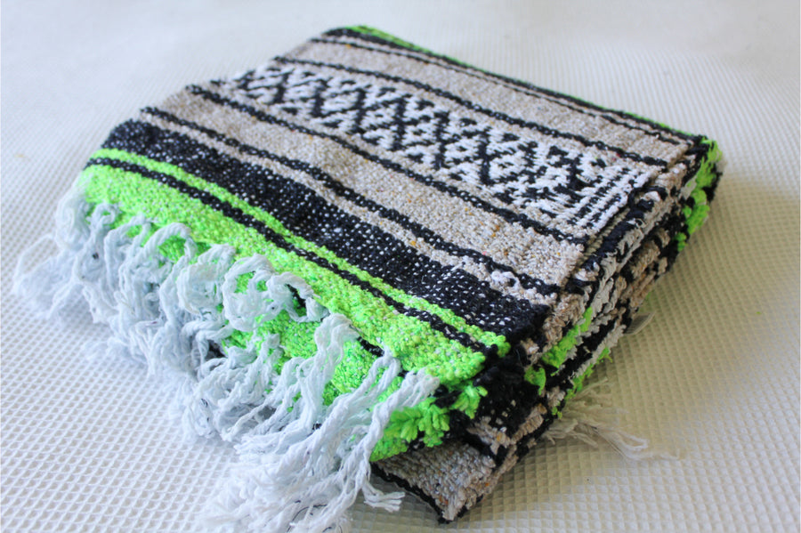Soft Woven Mexican Blanket in Green and Beige