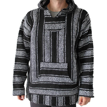 Black Mexican Baja Hoodie - Surfer Poncho - Black