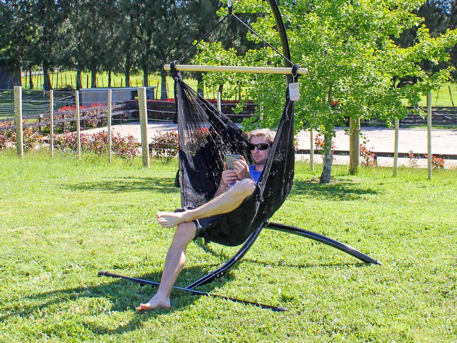 Black Chair Hammock - Woven Polyester - Weather Resistant