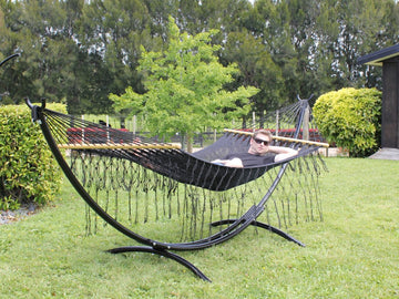 Metal Arc Stand and Mexican Hammock - Bar Style - Black