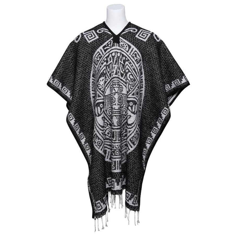 Black and White Poncho - Aztec Design