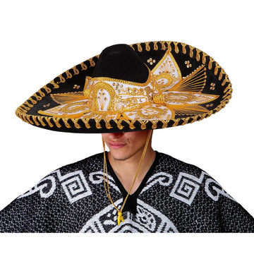 Black and Gold Mexican Sombrero