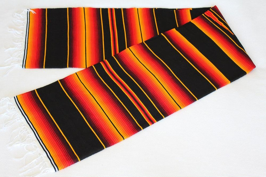 Mexican black and orange zarape blanket