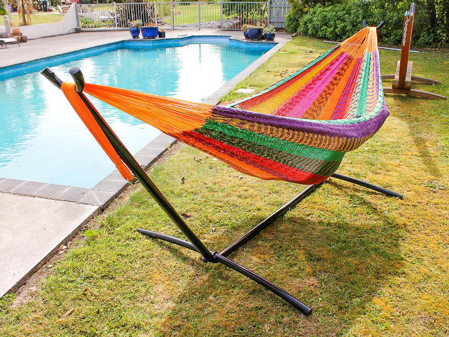 Black tubular steel hammock frame