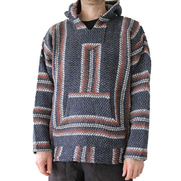 Mexican Baja Hoodie - Grey, blue, brown and white colour palette
