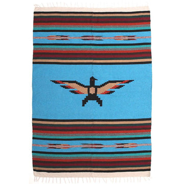 Turquoise Thunderbird Mexican Blanket