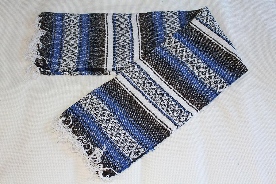 Blue and black Mexican blanket