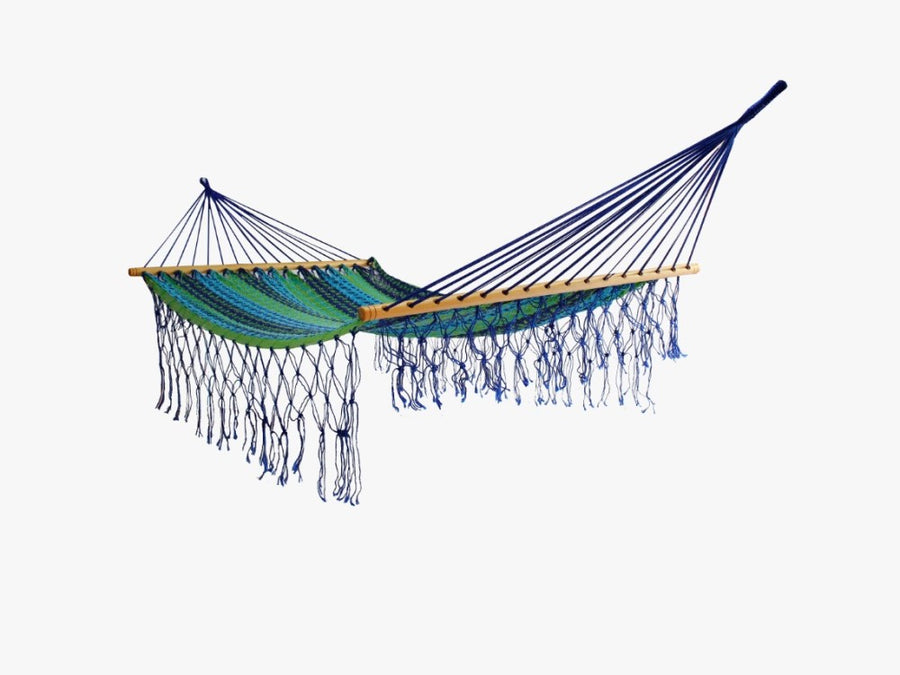 Spreader Bar Hammock - Blue and Green - Woven Mexican Cotton Hammock Bed