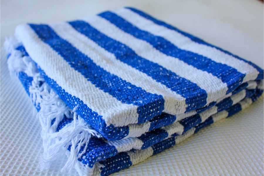 Mexican Falsa Blanket - Handwoven - Blue and White Folded