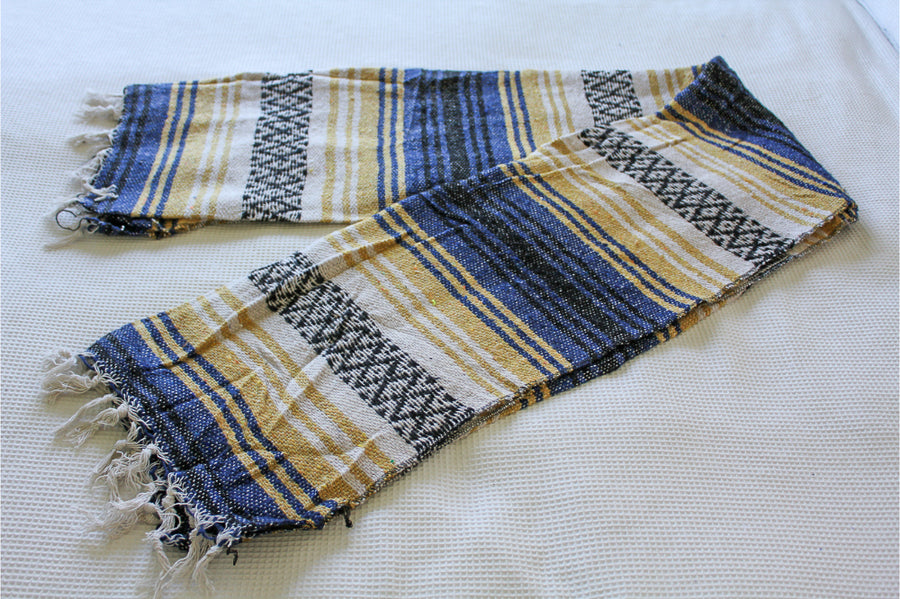 Striped Blanket - Mexican Made Falsa - Yellow, blue, black and white