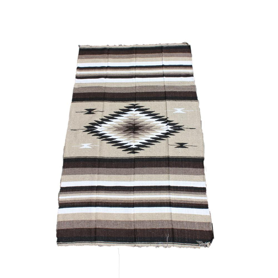 Mexican Diamond Blanket - Handwoven, Brown, Beige, White