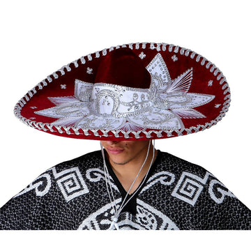Burgundy and White Mexican Sombrero