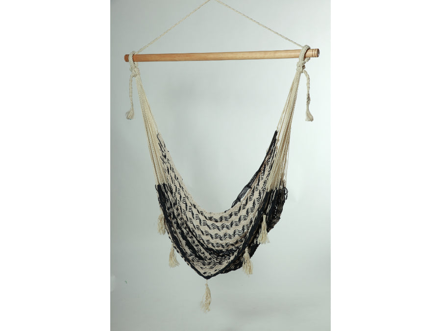 Mexican Woven Chair Hammock in Black and White Cotton