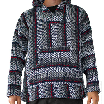 Charcoal Mexican Hoodie with Red Stripe