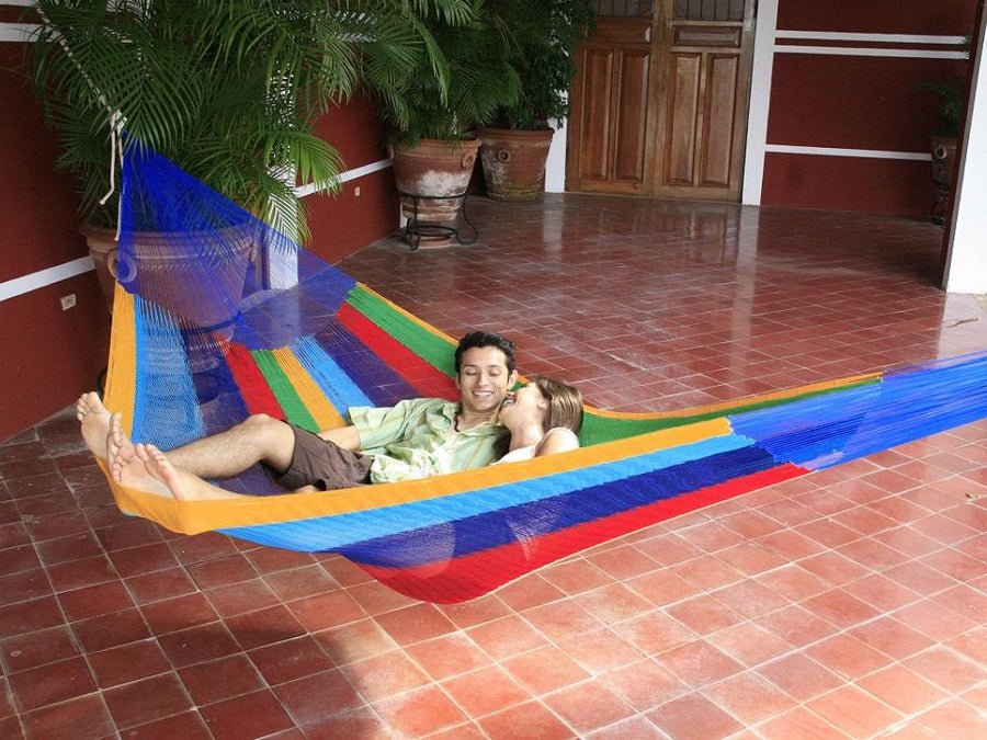 Rainbow Coloured Mexican Hammock