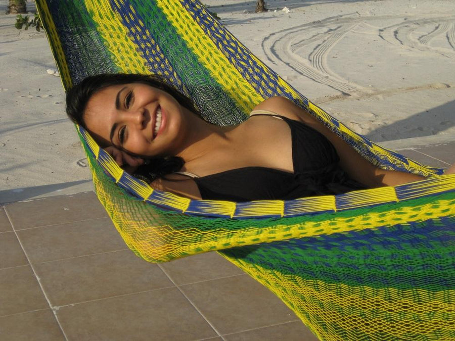 Blue, green and yellow cotton rope Mexican hammock